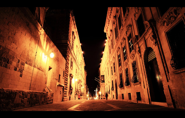 Valletta at night.