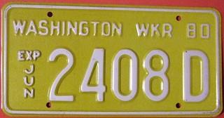 WASHINGTON 1980 ---WRECKER LICENSE PLATE, WHITE ON YELLOW