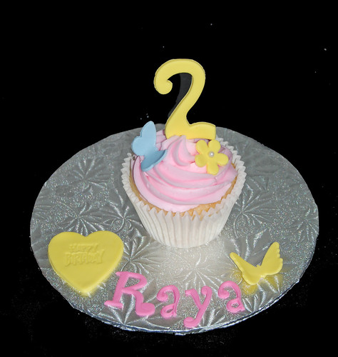 2nd birthday personalized jumbo cupcake - flowers and butterflies