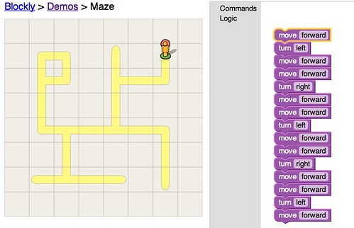 Blockly Demo: Maze Hardcoded Solution by stevegarfield