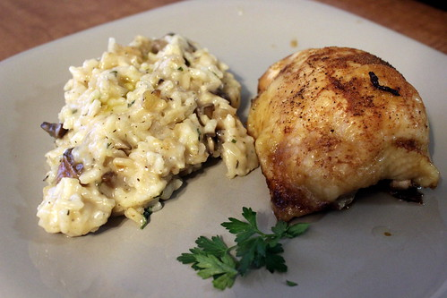 Mushroom Risotto & Roasted Chicken
