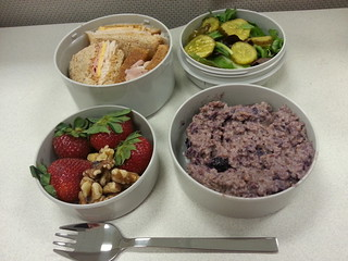 Steel cut oats with berries and coconut milk, strawberries and walnuts, turkey ham cheddar on rye, salad with pickles.