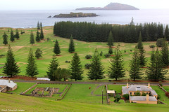 View of No. 2-3 Duplex, Ruins of No. 4 and No. 5 Quality Row, Golf Course, Nepean Island and  Phillip Island  From Queen Elizabeth Lookout, Norfolk Island