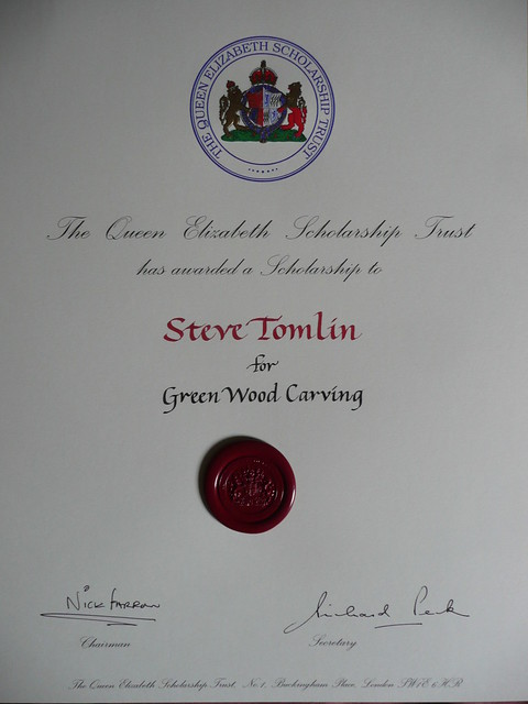 Steve Tomlin greenwood carving award