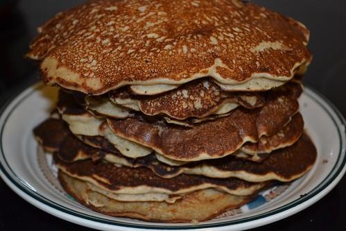 Stack of nine buckwheat pancakes