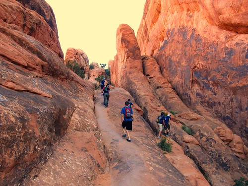 Hiking the Devil's Garden Trail through fin-canyons. Arches National Park, Utah