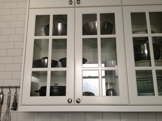 Apartment Kitchen (Glass front wall cabinets) | Flickr ...