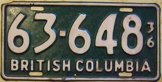 BRITISH COLUMBIA 1936 ---LICENSE PLATE