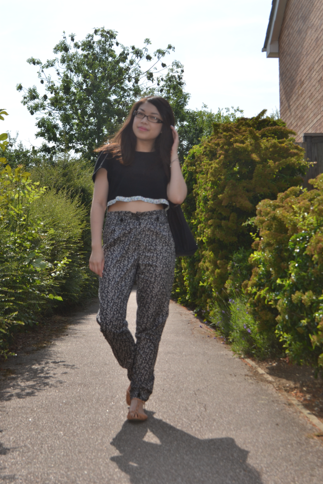 Daisybutter - UK Style and Fashion Blog: what i wore, print clash, printed trousers, diy top, diy clothing, uk fashion blogger