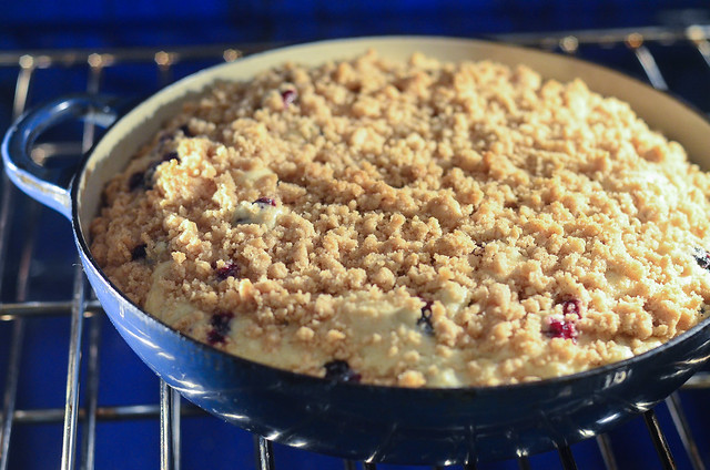 The Blueberry Crumb Cake as it bakes in the oven.