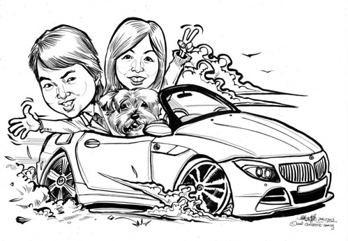 couple caricatures with dog driving BMW Z4
