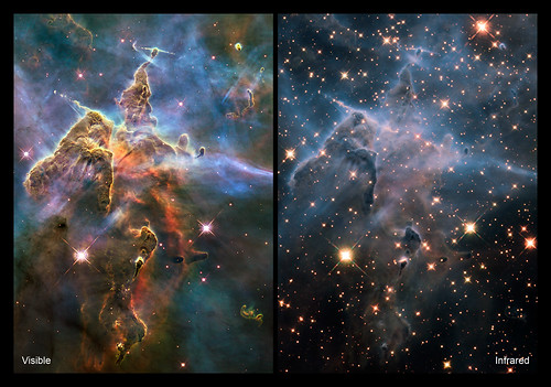 Carina Nebula in IR and Visible