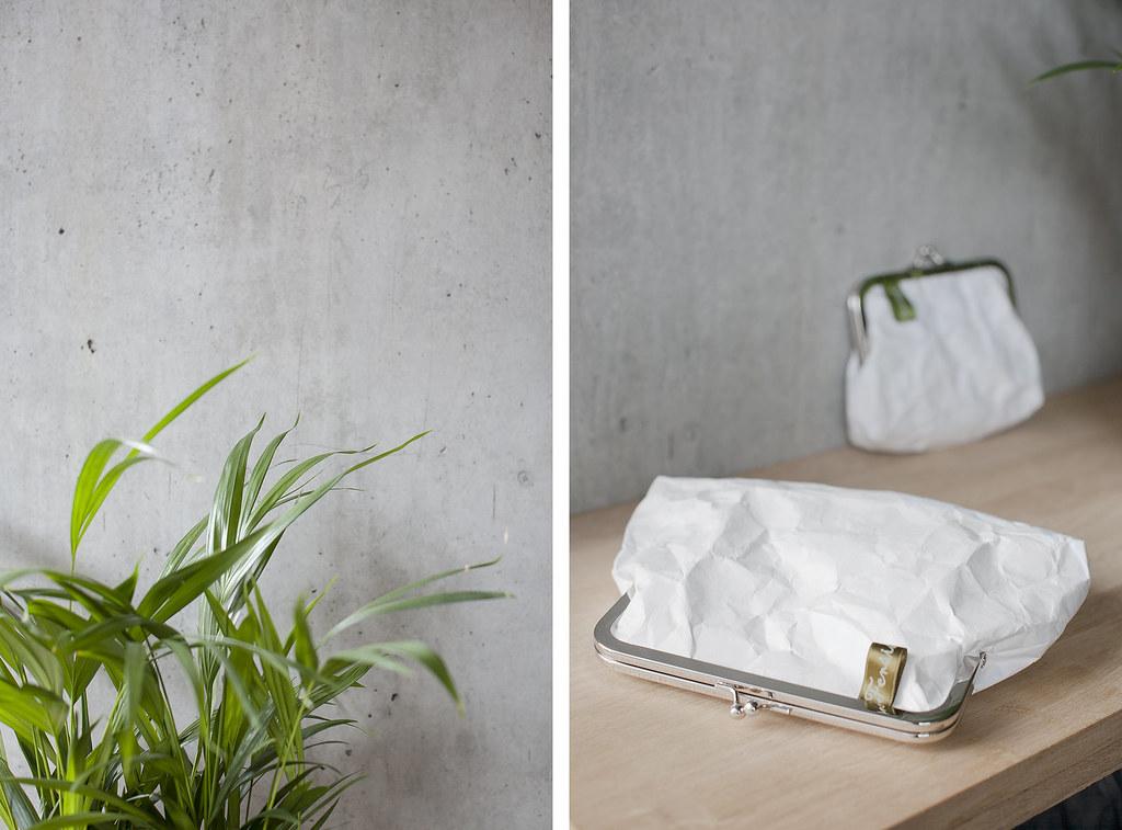 fensismensi paper purse bag tyvek concrete minimalist paper fashion