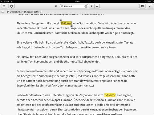 Editorial in Aktion - Suchfunktion