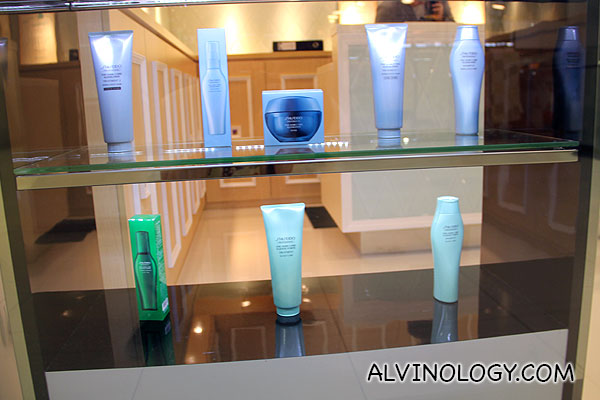 Shisheido's The Hair Care Fuente Forte for Scalp Care products on the lower shelf