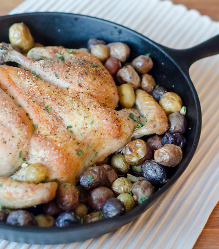 Pink Parsley: Flat-Roasted Chicken with Tiny Potatoes
