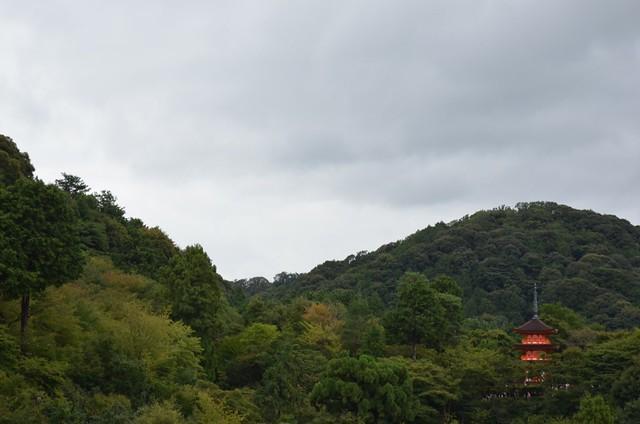 orange pagoda, green hills