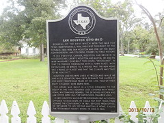 Photo of Temple Lea Houston, Andrew Jackson Houston, Sam Houston, and Margaret Lea Houston black plaque
