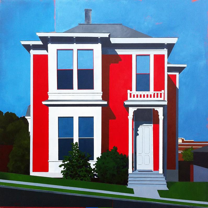 Redhouse 35 x 35 acrylic