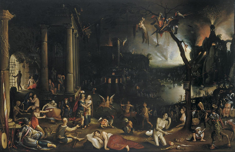 Flemish School - Aeneas and the Cumaean Sibyl in the Underworld, early 17th century