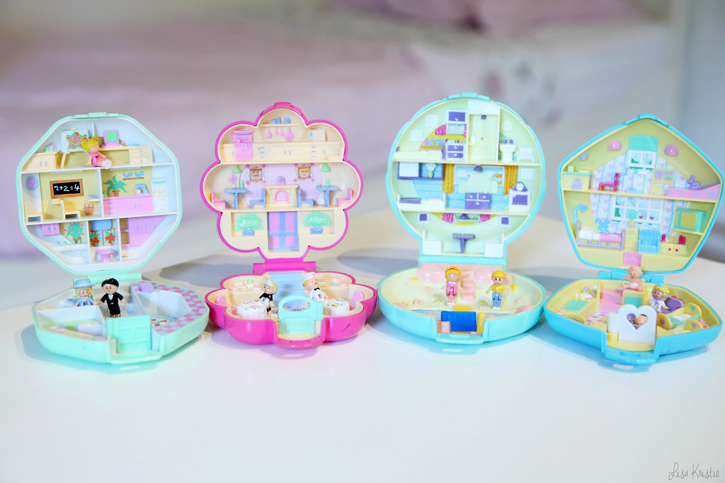 Polly Pocket bluebird toys plc boxes vintage 1990 90's original nursery daycare house home first edition school restaurant pistachio blue shell pink purple flower inside open