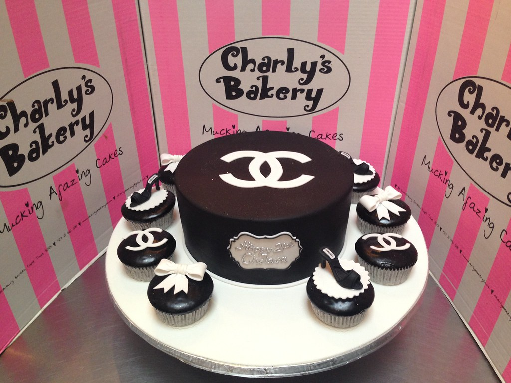 Simple Elegant Chanel Themed Birthday Cake Covered In Bl