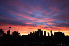 Sunrise over downtown Calgary