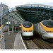 London Waterloo. Eurostars 3005, 3210 and 3208.  29.3.95 by Roger Joanes