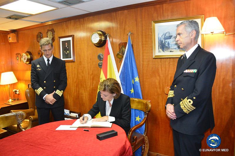 Spanish Minister of Defence on board Frigate Navarra – EUNAVFOR MED Op Sophia