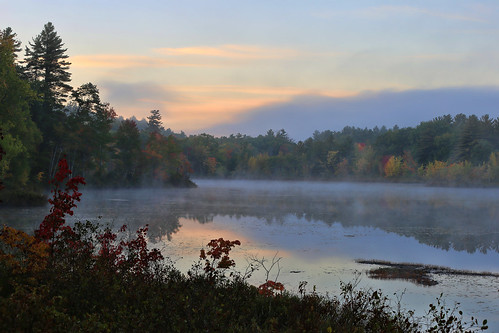 ingallspond sunrise mist hiram maine morning goldenhour rpg90901 canon 6d canonef70200mmf28lisiiusm canon70200f28lll autumn fall fallcolors fallfoliage 2016 october 0658 landscape water pond trees