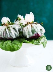 "Rice paper ""pouches"" filled with spinach…"