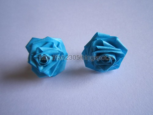 Handmade Jewelry - Paper Rose Earrings (Light Blue) (1) by fah2305