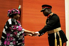 Malawi's Army Commander General Henry Odillo hands over the presidential sword to President Joyce Banda at her swearing in ceremony. Credit: Claire Ngozo/IPS