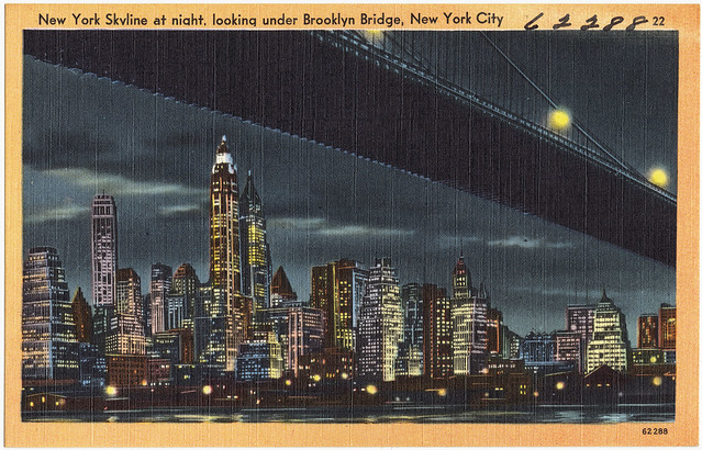New York skyline at night, looking under Brooklyn Bridge, New York City by flickr user Boston Public Library