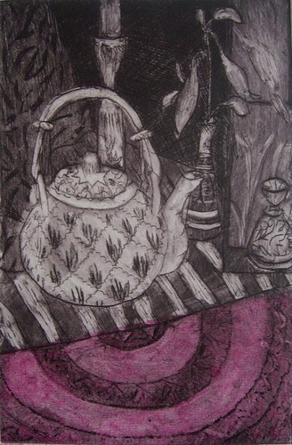 Still life - drypoint etching