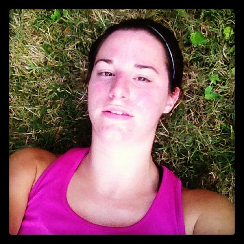 Collapsed in the grass after a 4 miler with the real feel temp at 93. I look so pretty after a run!