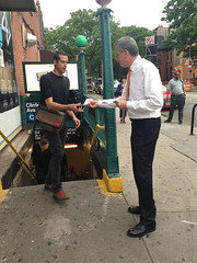 De Blasio at TWU Day of Action to Restore Station Booths & Agents