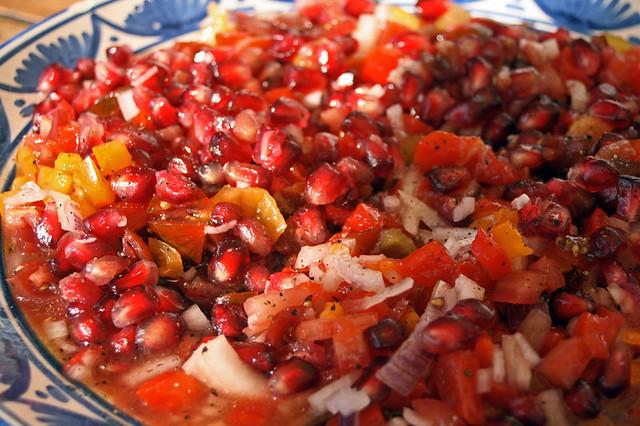 salade de grenade et tomate
