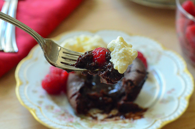 Molten Chocolate Cakes with Sugared Raspberries