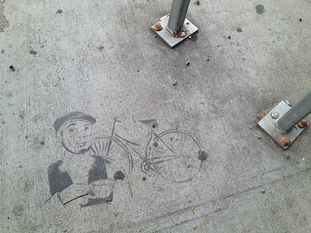 Bike rack sidewalk stencil