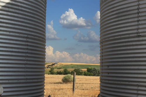 Some grain bins by where we park our equipment.