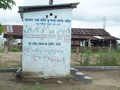 Raised toilets in several villages in Dhemaji provide safe sanitation during floods.