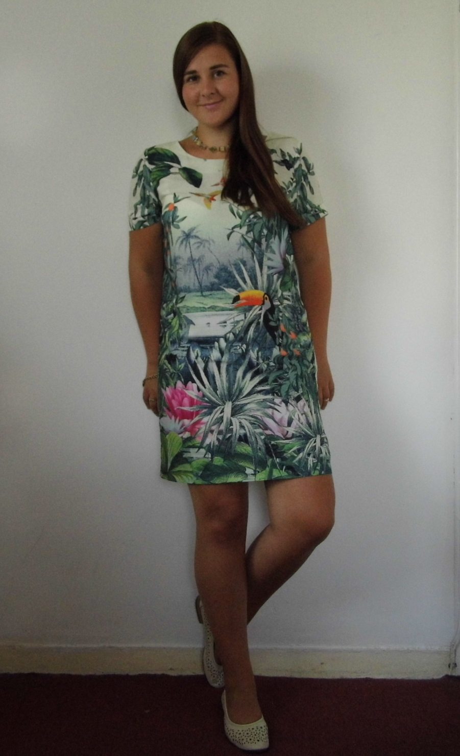 H&M Tropical Print Shift dress