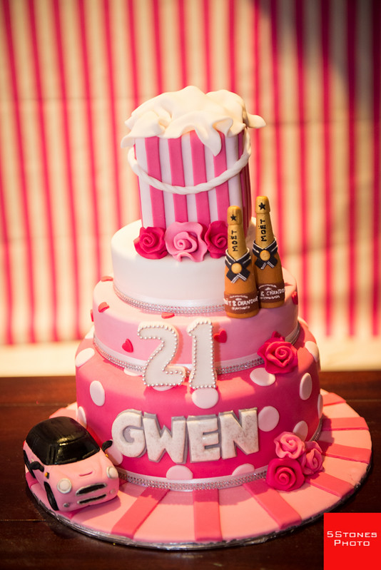 Gwen's 21st birthday cake - note the consistent pink theme, mini cooper and the 2 bottles of Moët!