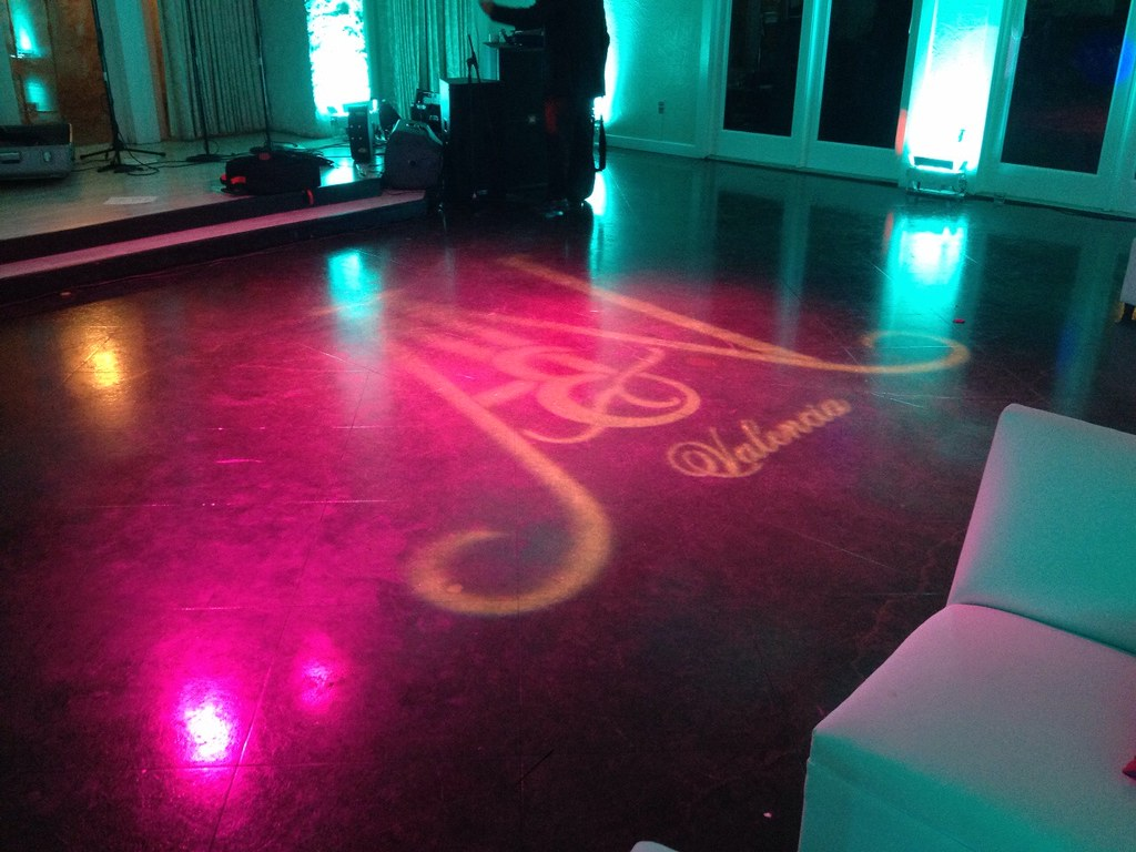 Monogram or logo projection services by intelligent lighting vintage villas austin tx wedding lighting in the sunset room arubaitofo Choice Image