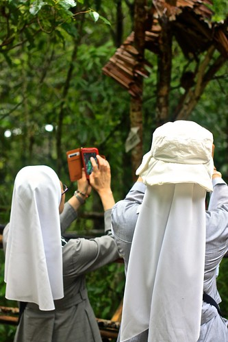 Nuns try to capture a tarsier