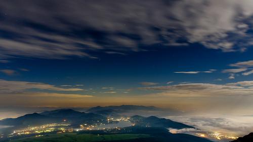 japan night landscape fuji fujiyoshida yamanashiprefecture