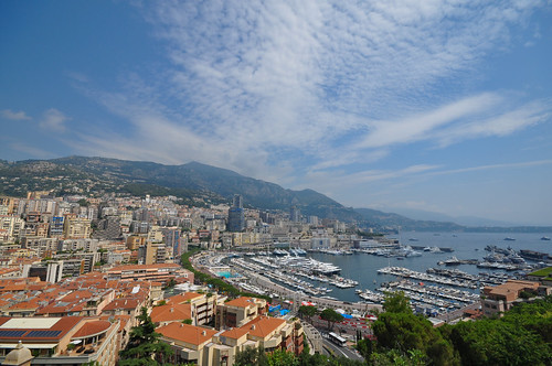 blue panorama mountain france mountains tree water skyline clouds buildings boats harbor boat nikon europa europe mediterranean wide bluesky montecarlo monaco frankrijk yachts mediterraneansea wideview d5000