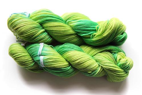 Luxury merino sock yarn in 'Supergrass' colourway