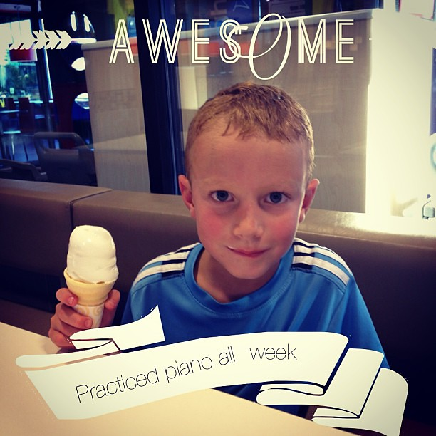Without complaining!  So I promised him an ice cream cone at McDonald's after football practice.